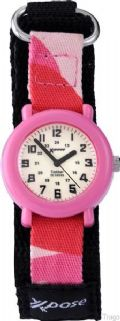 Sekonda Xpose 3009 Children's Pink Case Luminous Analogue Dial Fabric Strap 50m Watch